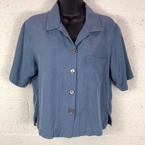 Tommy Bahama Sz S Silk Buttoned Blouse Steel Blue